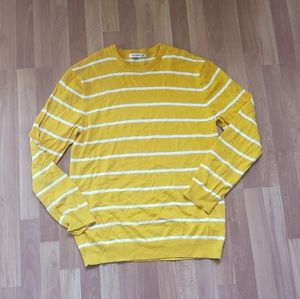 Old navy yellow striped men crew sweater